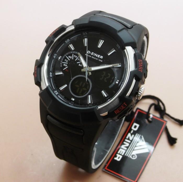 Dual Time - Rubber Strap - Abu-Abu Hitam - DZ 7011 .