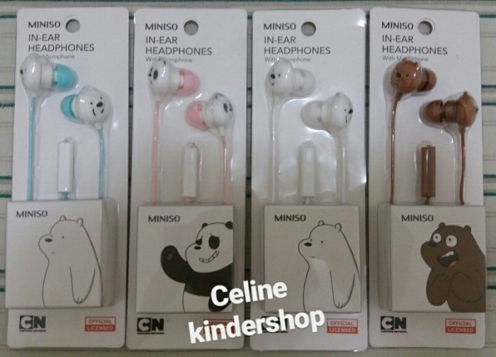 d5ff6db9b3d MINISO We Bare Bears Earphone /Headset/ Headphone with microphone