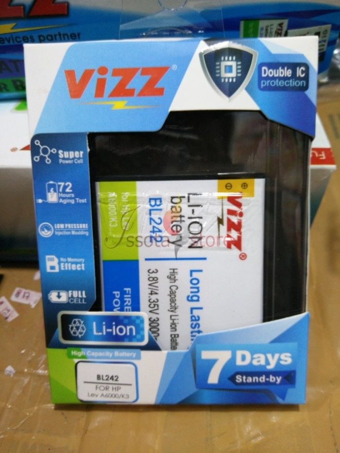 harga Battery baterai batere lenovo a6000 k3 bl-242 merk vizz double power Tokopedia.com