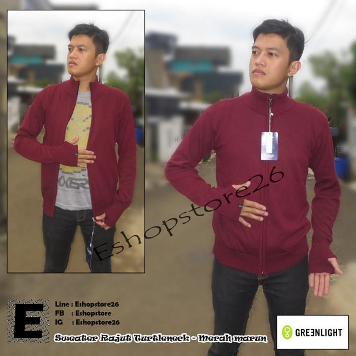 Sweater Rajut Turtle Neck Greenlight Pria Premium - Biru Navy