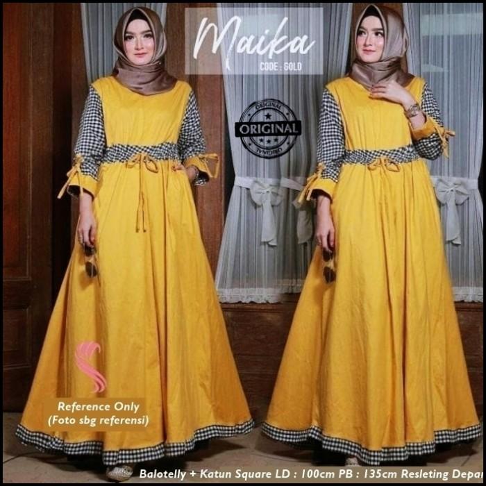 Jual Baju Muslim Wanita Balotelli Katun Maika Dress Gamis 2018
