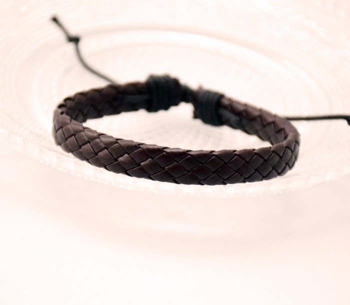 Foto Produk GG088 Gelang Pria Kulit / Men Fashion Faux Bracelet Serut Bangle dari Mooi Lashes