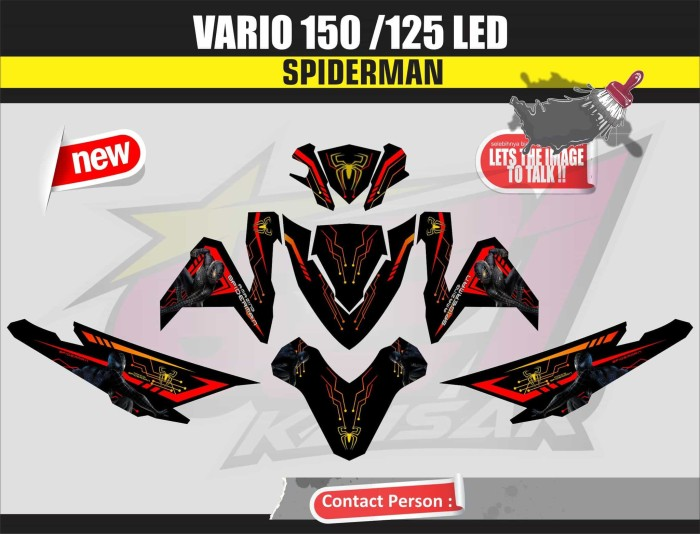 harga Sticker motor aksesoris body motor vario 150 led spiderman hitam Tokopedia.com