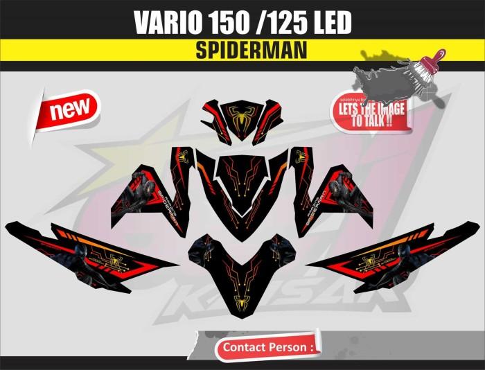 harga Sticker Motor Aksesoris Body Motor Vario 150 Led Spiderman Hitam Tokopedia.com