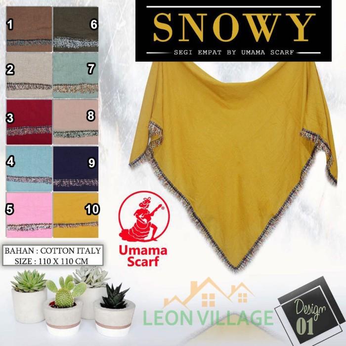 harga Kerudung snowy a1 umama scarf hijab jilbab segi empat polos renda Tokopedia.com