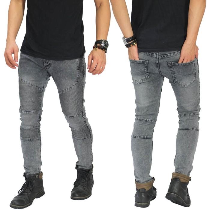 harga Celana Panjang Jeans Pria Cowo Laki Biker Extend Snow Wash Grey Tokopedia.com