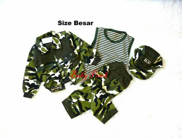 Foto Produk Setelan Baju Anak Army tentara Jaket Kaos Celana dan Topi. - Size 20 dari Si Pesek
