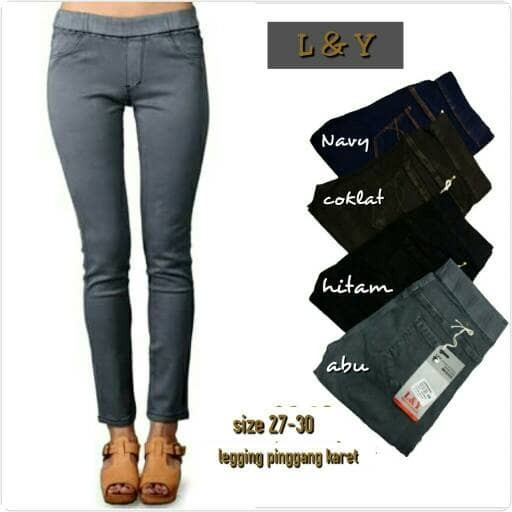 Jual Celana Jeans Wanita L Y Legging Pinggang Karet Kota Cimahi Mysha Fashion Tokopedia