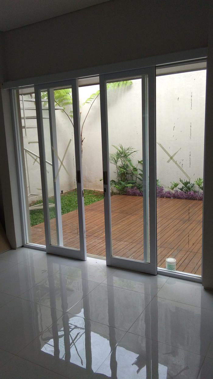 Jual kusen +pintu geser alumunium kaca - Putih - Kota ...