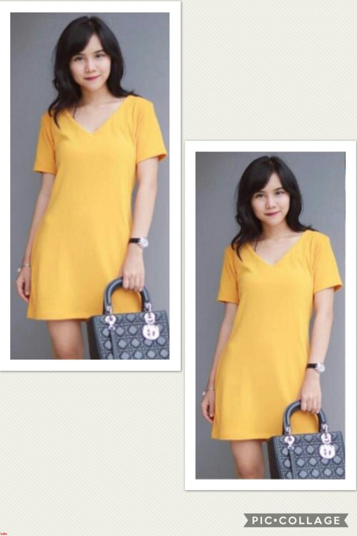 DRESS VII-mini dress polos-Dress wanita korea-Dress simple-OZ