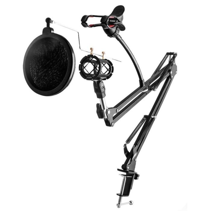 harga Condenser microphone & phone stand holder 360 degree lazypod Tokopedia.com