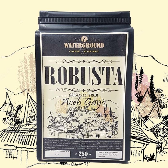 Foto Produk Kopi Robusta Aceh Gayo 500 grams (Biji/Bubuk) Coffee (Beans / Grounds) dari WATERGROUND COFFEE