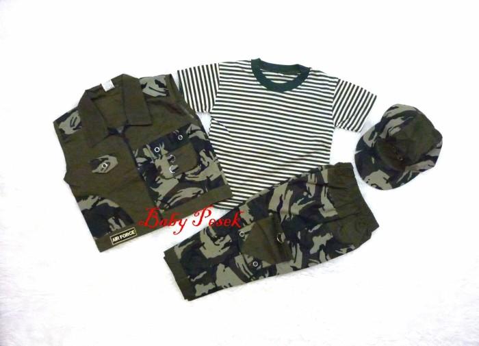 Foto Produk Setelan Baju Anak Bayi Army / tentara / ABRI dengan Rompi CP - Size 4-6 dari Si Pesek
