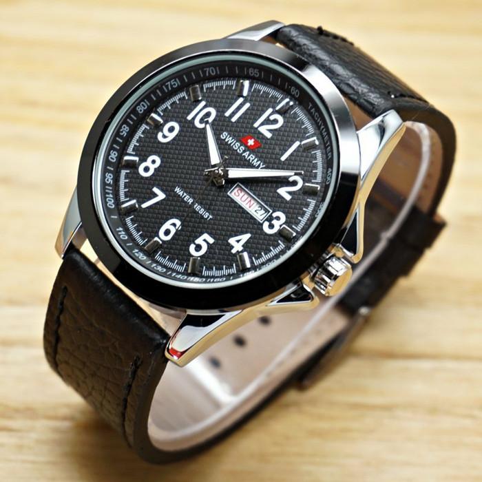 harga Jam tangan pria swiss army kulit hitam - putih tanggal & hari aktif Tokopedia.com