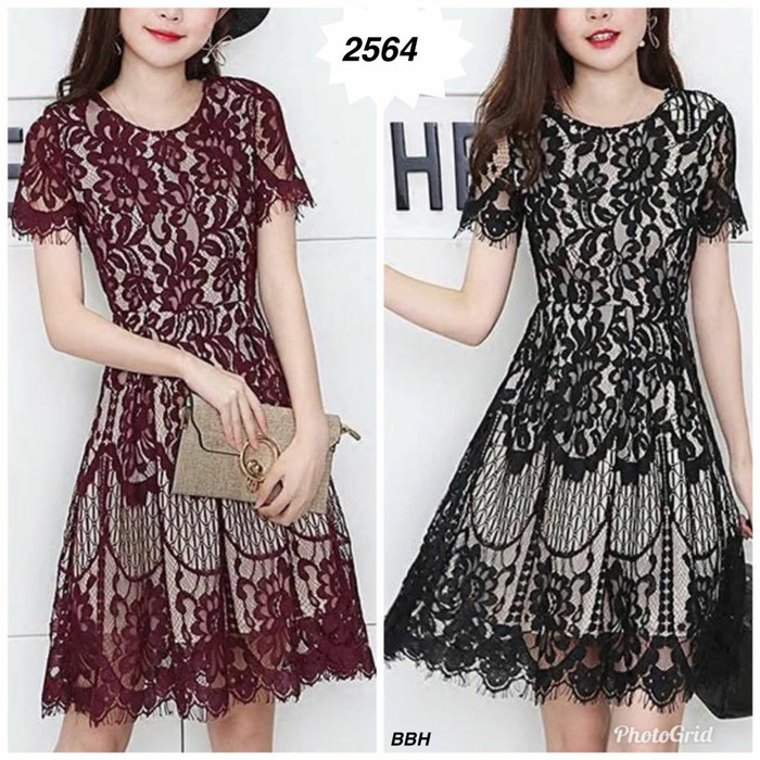 harga 2564 - dress import bhn brukat fit l Tokopedia.com