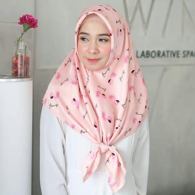 Jual Flamingo Jilbab Motif Murah Maxmara Square Hijab