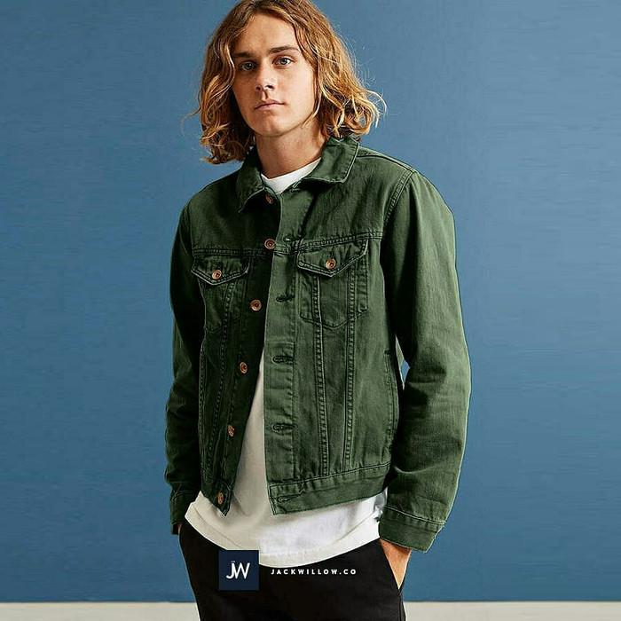 jual jaket jeans cowok hijau army jaket jeans cewek pria