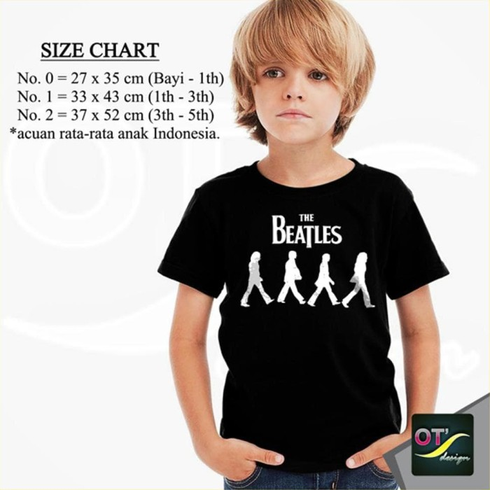 Promo T-Shirt Kaos Anak Baju Distro Band The Beatles 6 hitam dd