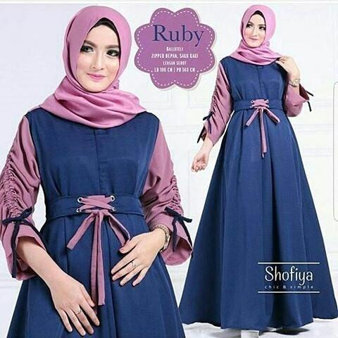 Jual Gamis Lengan Serut Ruby Dress Baju Muslim Syar I Baloteli