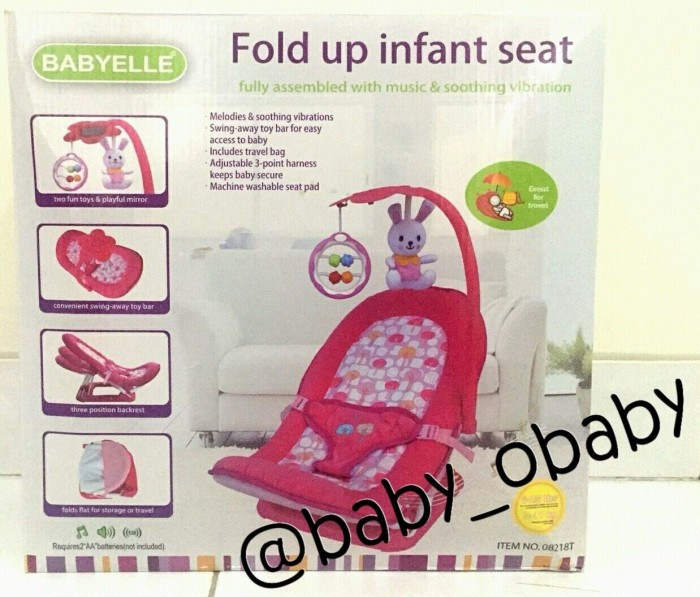 BabyElle Fold Up Infant Seat / Kursi Bayi / Bouncer Bayi - Soft Red