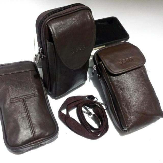 ... harga Tas hp kulit asli jeep impor - sarung hp kulit jeep - selempang  mini k 18ec6d09ea