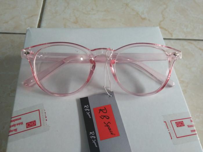 Jual kacamata fashion murah oval pink bening trendy gaya korea hit ... 8088468824