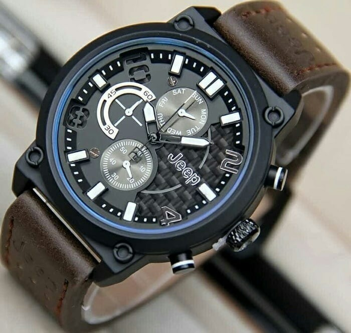 Jual jam tangan pria JEEP - tali kulit - leather strap - chrono hari ... df3106bb36