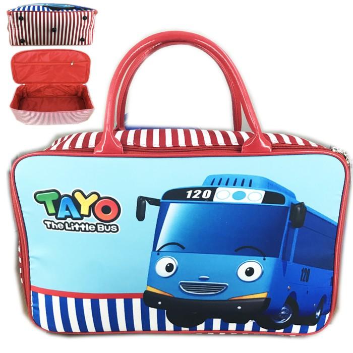 Tas Travel Bag Kanvas Tayo Biru Bus