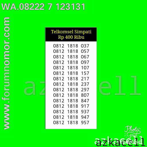 Nomor Cantik Simpati 11digit 0812 1818 037 Seri Abab 1818 rapi 287