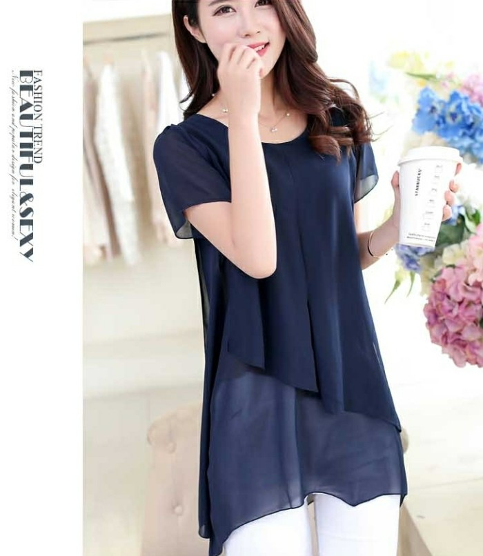 harga Chiffon blouse wanita import blue navy/ baju atasan cewek biru dongker Tokopedia.com