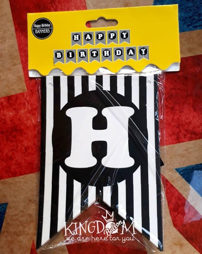 Banner HBD Hitam Garis / Bunting Flag Happy Birthday / Party Flag