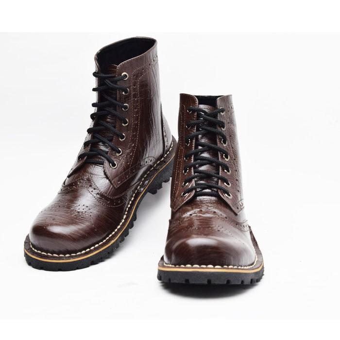 Jual Sepatu Boots Water Proof Big Size Kulit Asli Coklat Tua WK01 ... c217956838