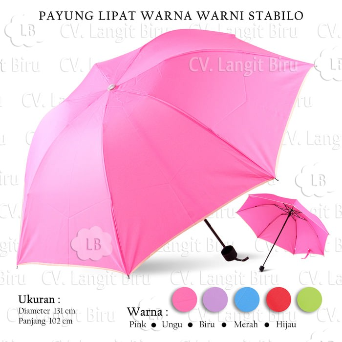 Payung lipat warna-warni stabillo polos. cerah simple elegant bs cowok