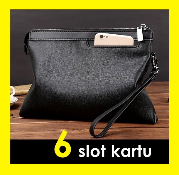 09a887bc250 Jual Clutch handbag hand bag tas pria KULIT Hitam - BLACK DOUBLE ...