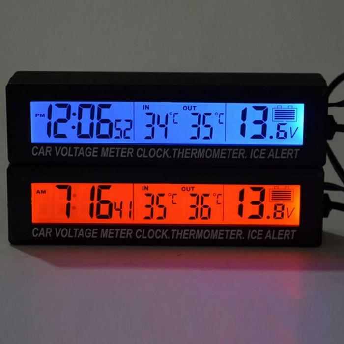 harga Jam digital lcd mobil dengan thermometer plus battery voltage monitor Tokopedia.com