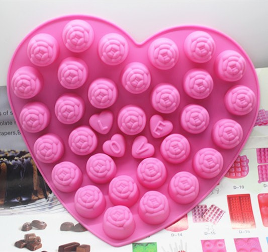 Cetakan puding/kue silikon  love rose