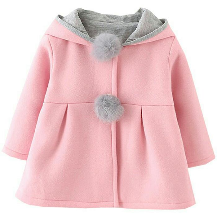 jaket musim dingin dengan telinga kelinci u tuk anak perempuan
