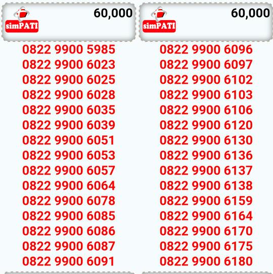 ... Nomor Cantik Simpati 60k Couple rapih 9900 6085 6086 Mudah di ingat