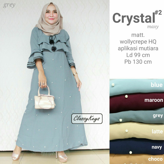 Long dress maxi wanita muslim crystal#2 size L apl. mutiara