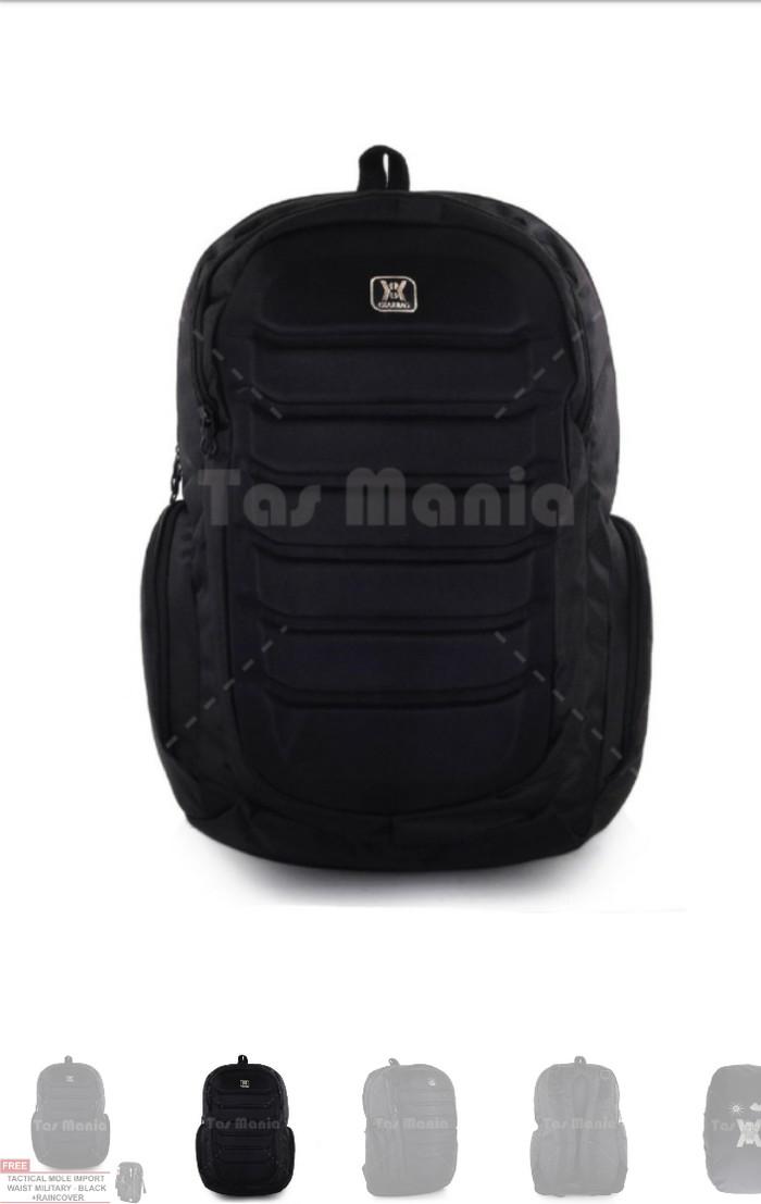 Tas Ransel Gear Bag Aligator Tas Laptop Backpack - Black + Raincover +