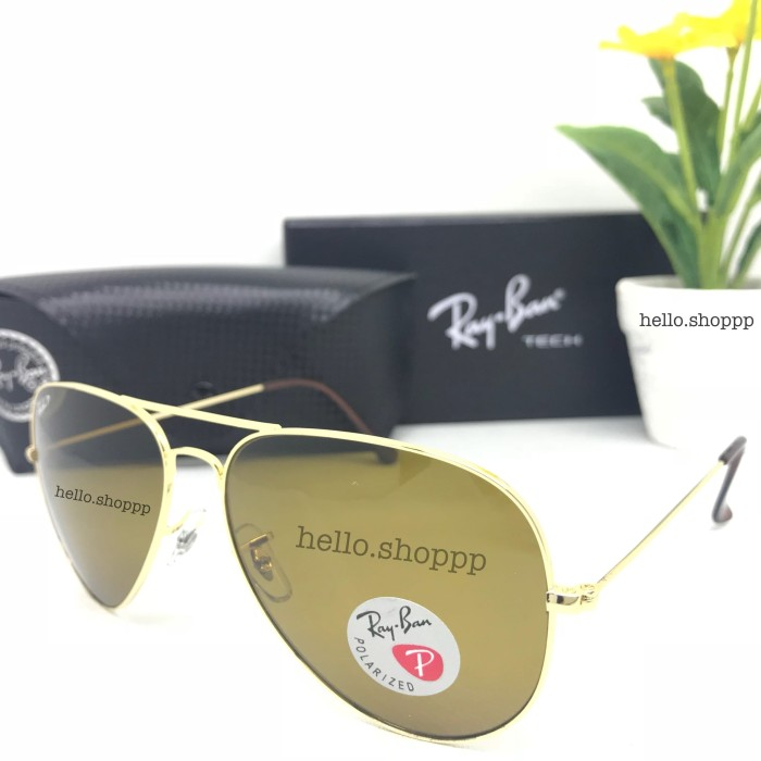 harga Kacamata ray ban aviator frame gold brown polarized   lensa kaca  Tokopedia.com 0dbfe81847