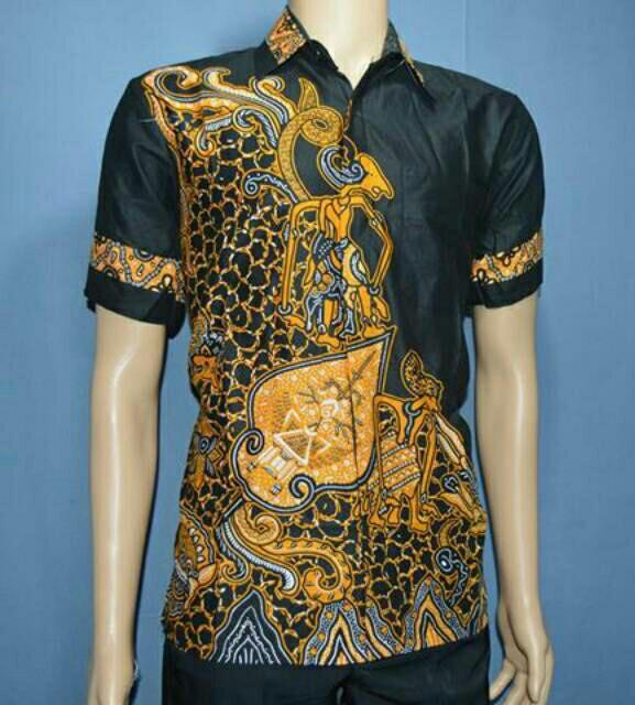 Kemeja Hem Batik Pria Fashion Wayang Susun Kuning