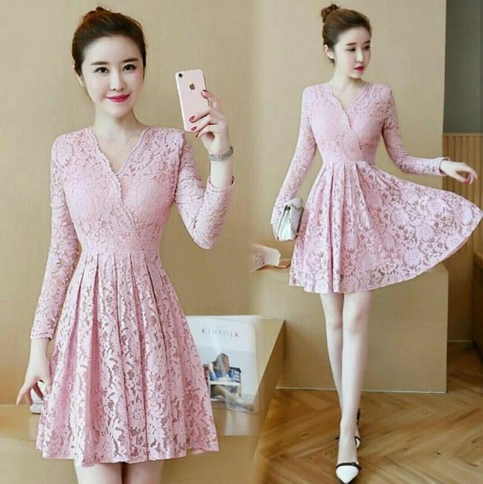 harga Brukat vivi pink  [dress 0117] rav Tokopedia.com