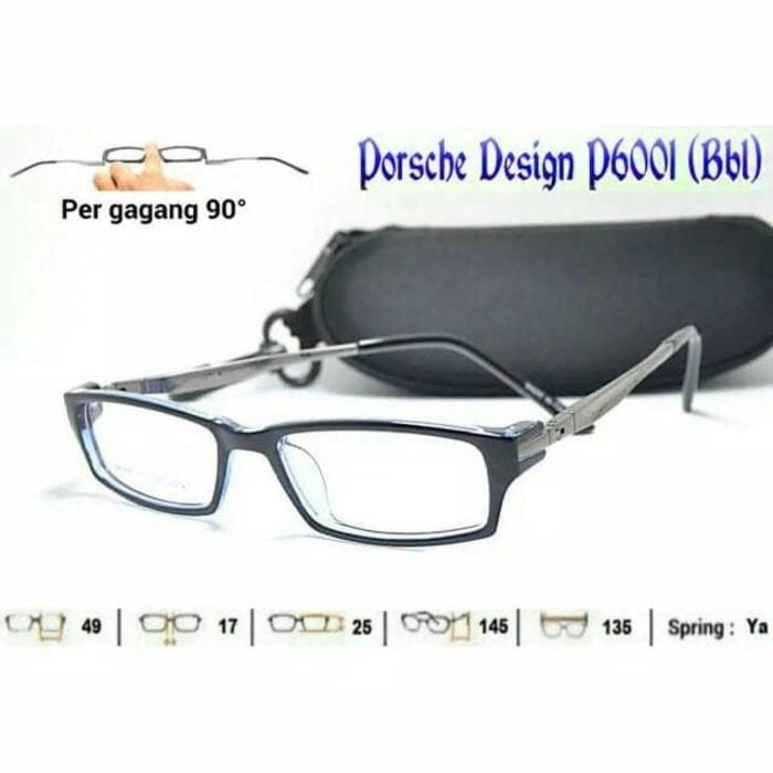 Kacamata porsche + lensa minus baca antiradiasi frame kotak pria cewek 3f5cef536b