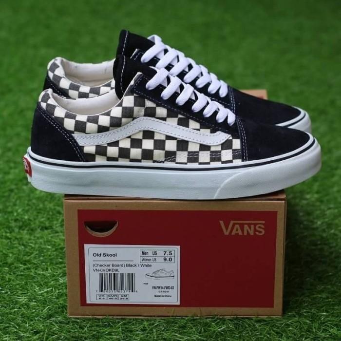 07b39b0dad4d5b harga Sepatu sneakers vans oldskool checkerboard black white premium dt  Tokopedia.com