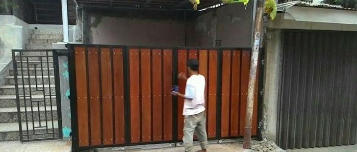 Jual Pintu Pagar Kombinasi Woodplank Kab Bogor Bengkel Las