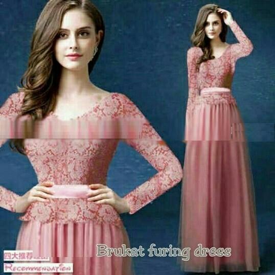 Jual Dress Maxi (M - Fit L) KARIN - Brokat Furing Tile - Merah Muda ... b1f22c1324