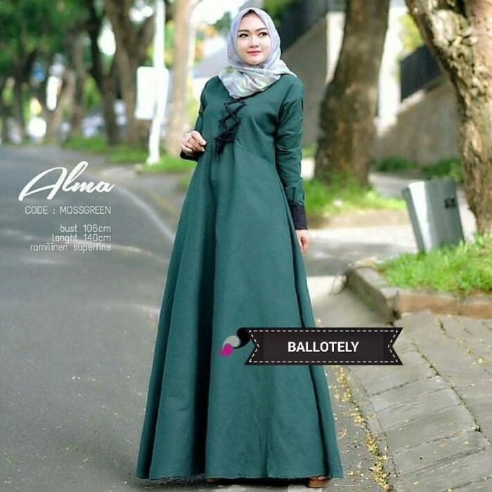 Jual Alma Dress Balotelly Gamis Panjang Hijab Casual Pakaian Wanita Terbaru Baju Hijab Muslim Tokopedia
