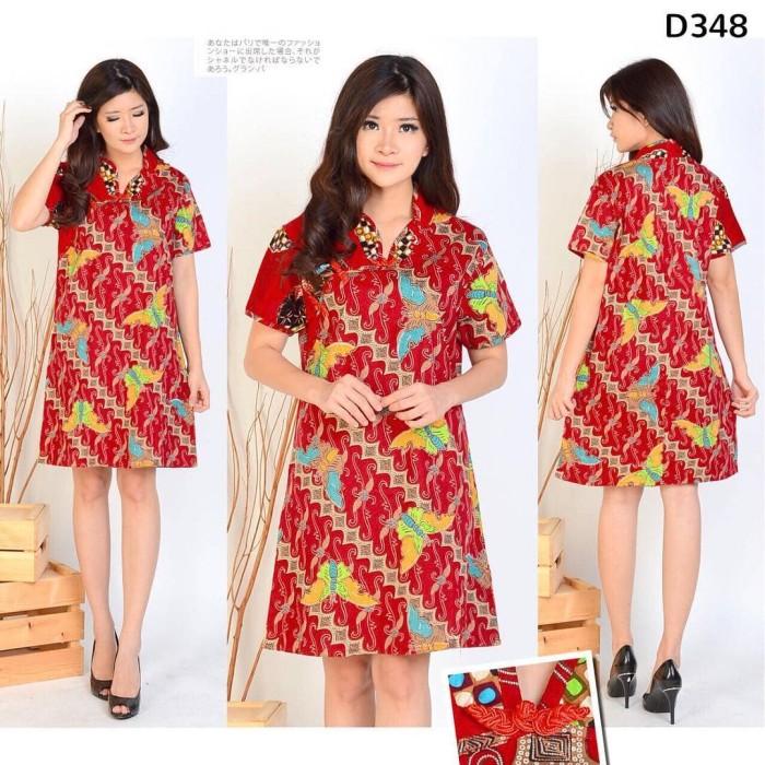 harga Dress Batik Kerah Shanghai D348 Tokopedia.com