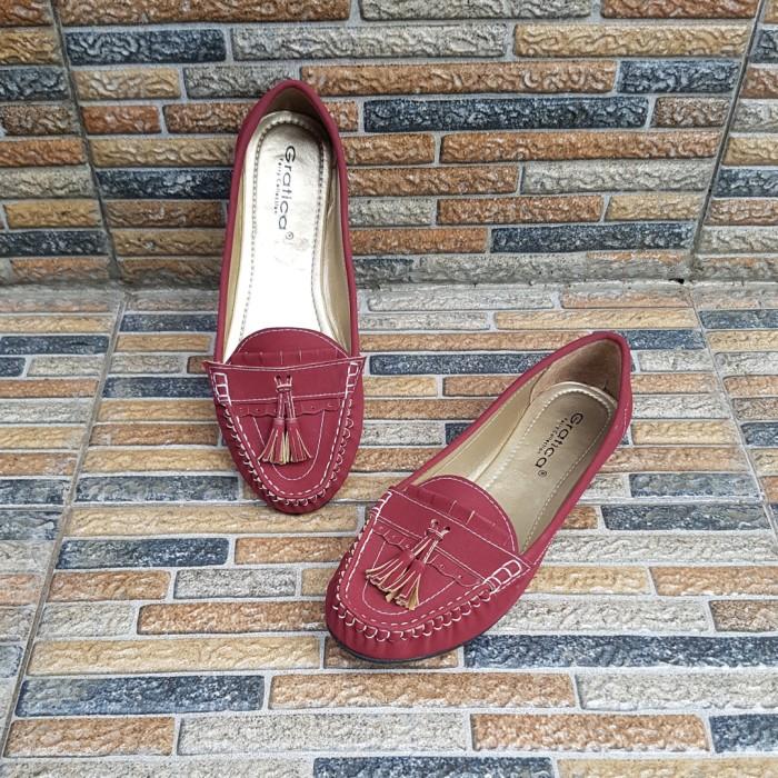 Sepatu Flats shoes Flatshoes Gratica IS09 Maroon Terbaru